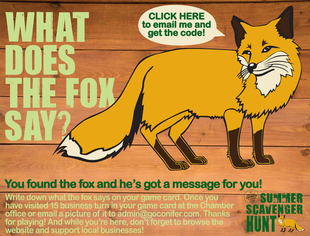 Find the Fox contest by the Conifer Area Chamber of Commerce